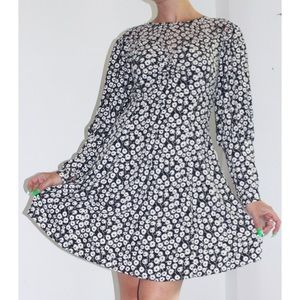 Topshop Puff Sleeve Mini Dress with Tiny Flowers